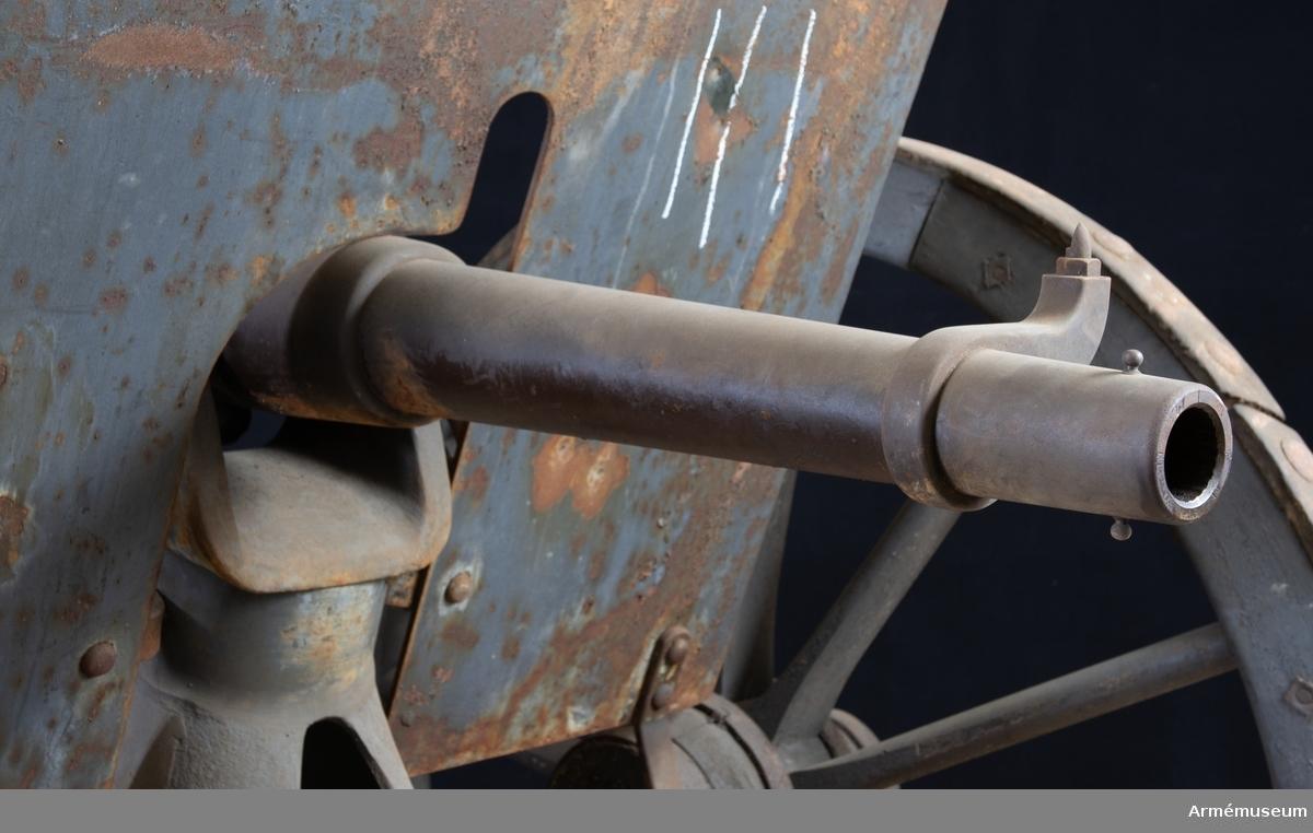 Grupp F I. Eldrör till 5 cm kanon fm/1892. Provskjuten 1892. Senare kallad 47 mm snabbskjutande kanon m/1892. Tillverkningsnummer 1. 47 mm kanon, batteri no 5, Finspång 1892.