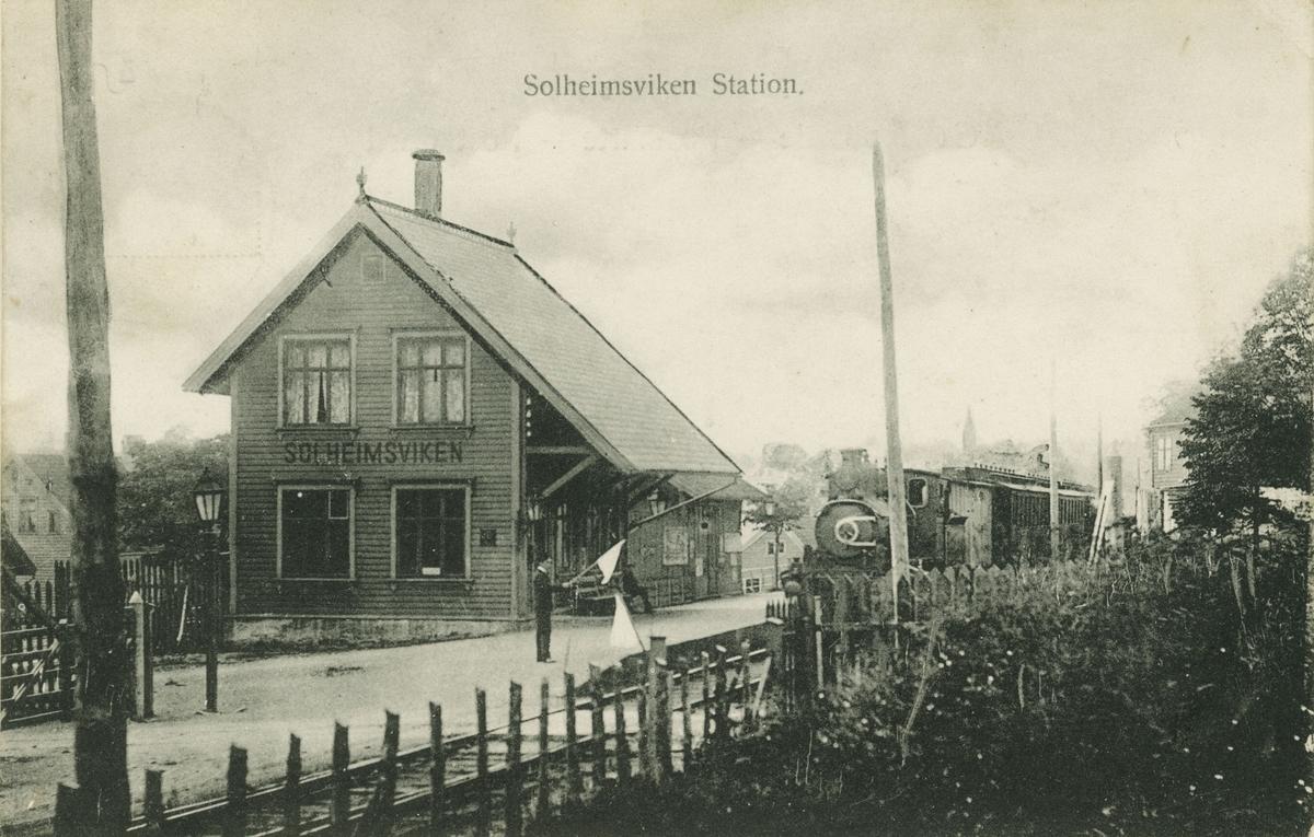 Bergen. Solheimsviken stasjon, 1907. Ukjent fotograf/utgiver.