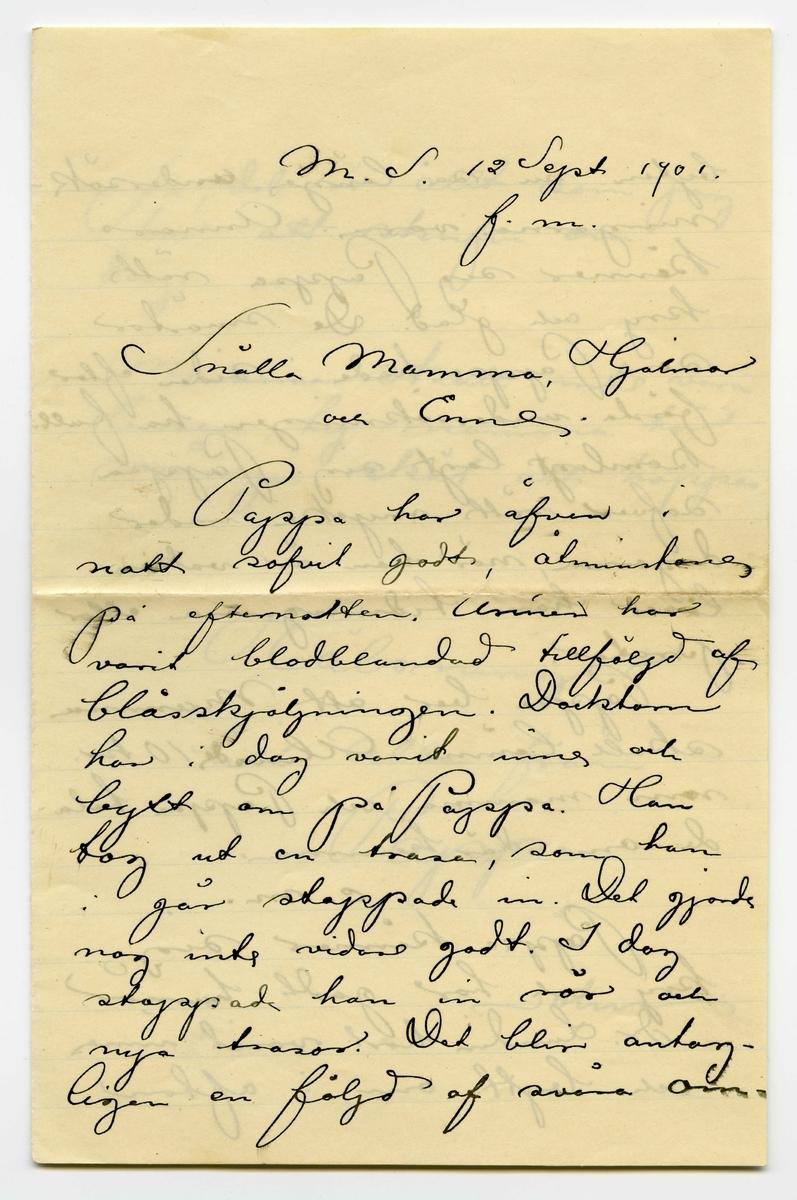 """Brev 1901-09-12 från John Bauer till Emma, Hjalmar och Ernst Bauer, bestående av tre sidor skrivna på fram- och baksidan av ett vikt pappersark. Huvudsaklig skrift handskriven med svart bläck. . BREVAVSKRIFT: . [Sida 1] M.S. 10 Sept. 1901 På förmiddagen. Snälla Mamma, Hjalmar  och Enne. Pappa har idag blifvit undersökt, men det inskränkte sig vist till kämningar på såret. Det gjorde rätt ondt säger Pappa så det måtte varit  svårt. Pappa somnade inte förr än kl. 12 natt, men har sofvit rätt godt på efernatten. Pappa ligger och tänker på så mycke . [Sida 2] alltig kommer för honom. I morgon skall blåsan undersökas. Pappa är li- te rädd därför att röret är så smalt, men vi  ska be att de söfver Pappa. [överskrivet: f] För att skrifva lite om mig [överskrivet: k] själf, så mår jag bra. På ateljén ligga vi 4 stycken, 3 på golfvet och en i vår enda soffa Några lakan har jag inte. Jag hade ett par men det ha de knyckt och smutsat ned. Jag ligger aldeles utmärkt i min filt och sofver som en stock natten egenom Jag var i dag hos Boniers . [Sida 3] och fick ett manuskript, en liten treflig saga till Snöflingan, men jag får inte göra mer än 2 illustrationer. Det är en ganska stor ära att få rita hos Bonnier. Alla dagar gör likadant. Jag är på akademien mellan 9 – 11 äter frukost och åker  till Pappa. vägen hit tar en dryg halftimma med spårvagn. Vid 3 tiden går jag hem och äter middag och uträttar lite annat smått och godt, så jag kom- mer sällan till Pappa förr än kl. 6 - ½ 7 på eftermid- dagen. [överskrivet: v] Vid 8 tiden måste jag gå igen och tar då M. hissen och färgan till . [Sida 4] staden, samt järnvägsbron fram till Centralen med brefvet. På eftermiddagen Dr. Lundin har alldeles nyss varit inne och sköjdt såret. Det varade sig ingenting als i början, men kom sedan, som långa ormar i vattenskålen. """"Det är många kanaler därinne och svårt att komma på det klara med"""" sa dr. Pappa kommer att söfvas i morgon vid blås- undersökningen, men det går mycke fort påstod doktorn. J"""
