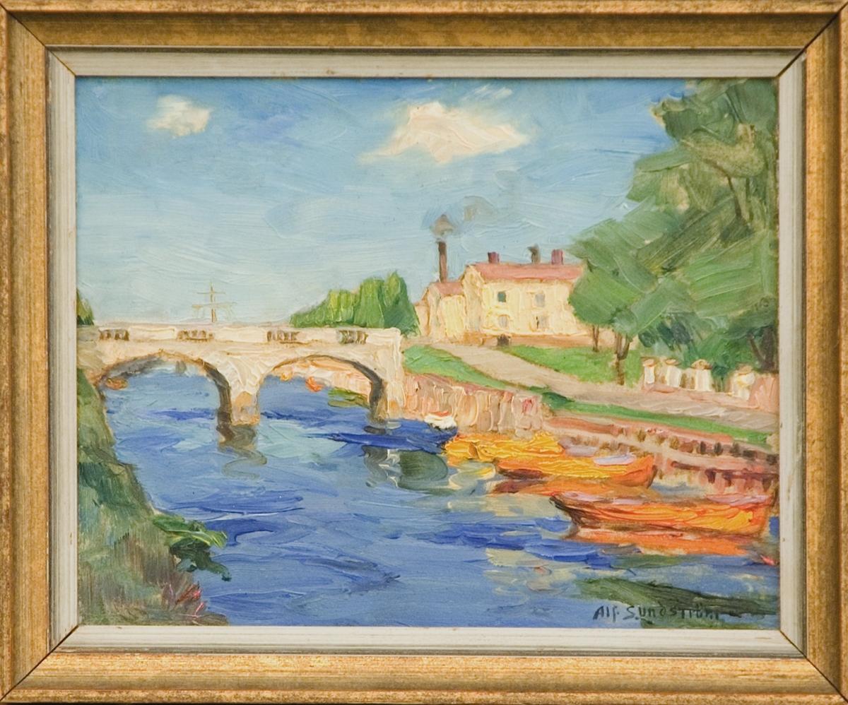 """Oljemålning av Alf Sundström, """"Gavleån vid Kungsbron"""", 1924 (enligt uppgift)."""