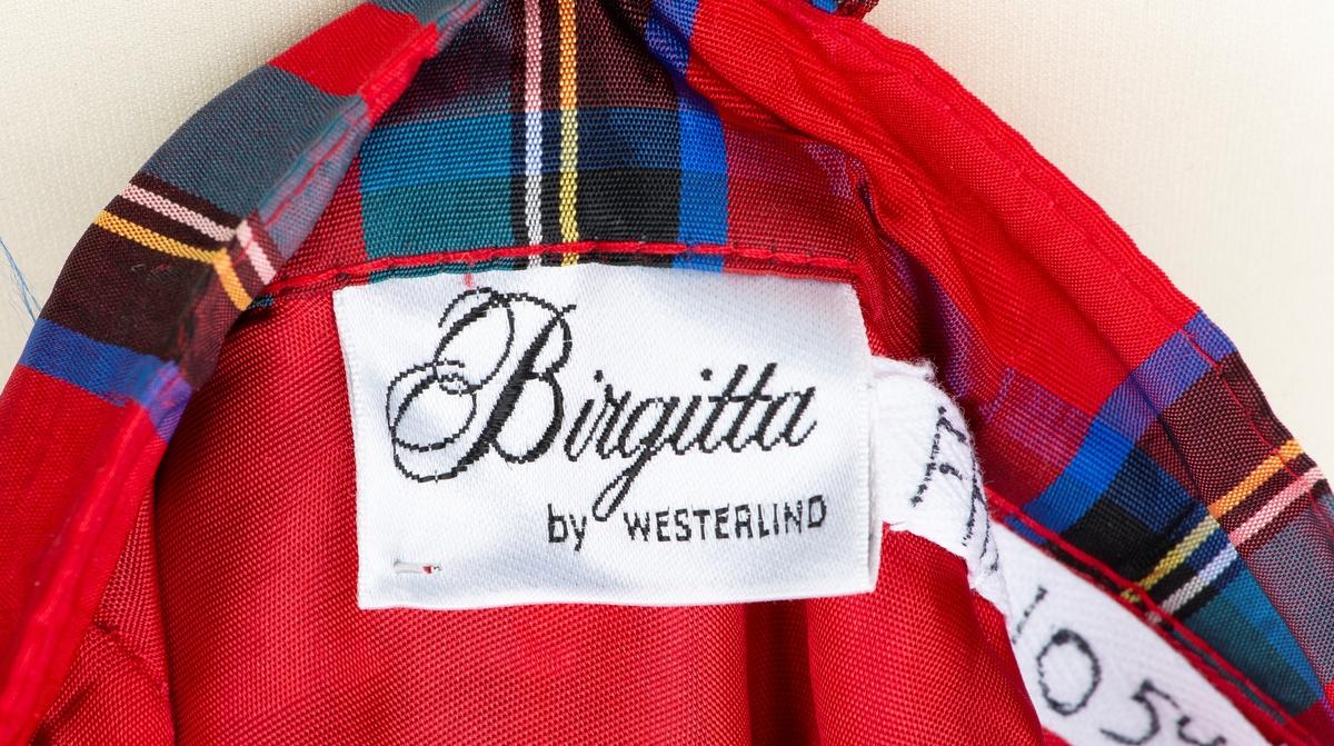 """Halvlangt skjørt. Konfeksjonssøm. Merket """"Birgitta by Westerlind"""" Sverige Skotskrutet med løse folder ved linning. Helforet og 2 brede kapper nederst"""