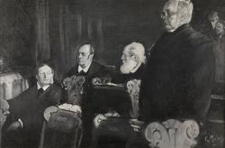 Nils Hertzberg, Aksel Winge, Karl Hals og Emil Stang [Olje p