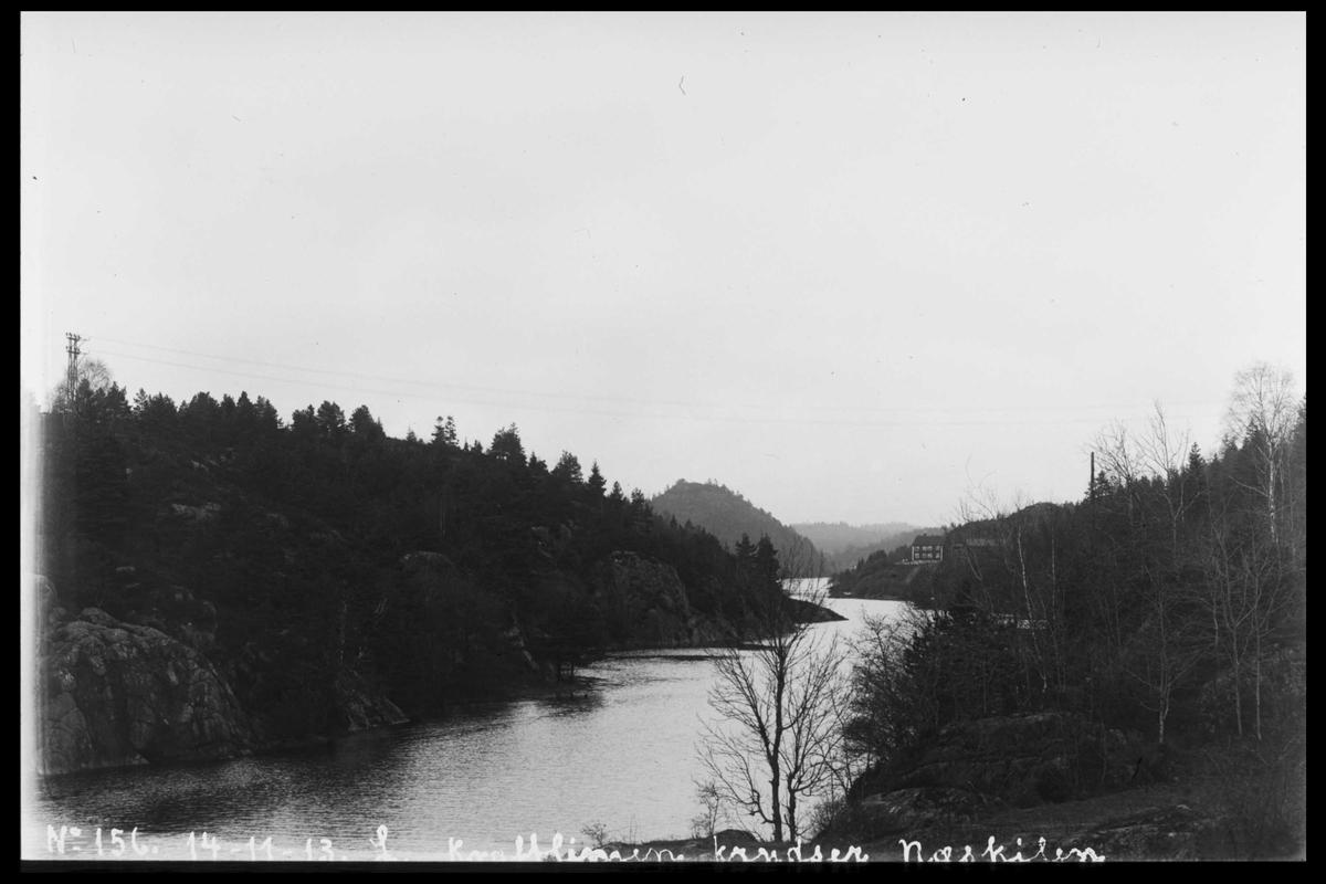 Arendal Fossekompani i begynnelsen av 1900-tallet CD merket 0565, Bilde: 50 Sted: Bøylefoss Beskrivelse: Linjestrekk over Neskilen