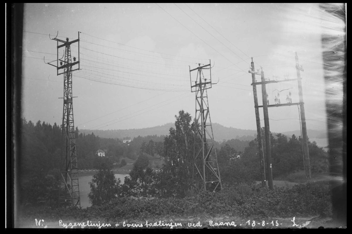 Arendal Fossekompani i begynnelsen av 1900-tallet CD merket 0565, Bilde: 78 Sted: Rygene Beskrivelse: kraftlinja