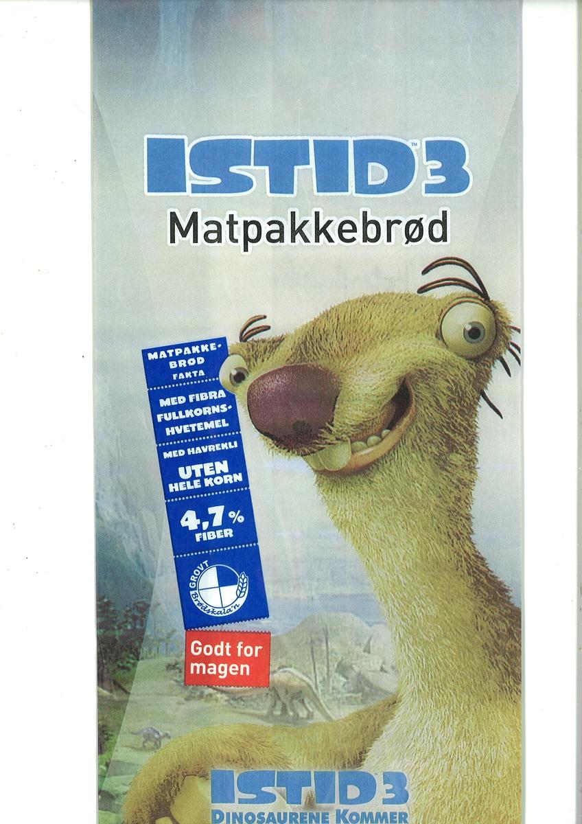 Motivet er dovendyret Sid fra animasjonsfilmen Istid 3. Man ser en smilende Sid i forgrunnen. I bakgrunne ser man et landskap med dinosaurer.