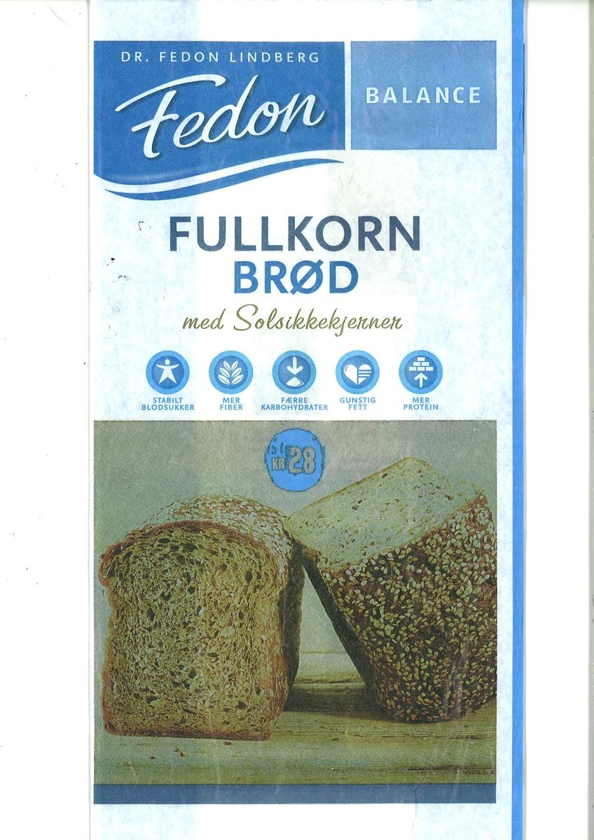 Motivet på brødposen er et brød som er skåret opp i to halve. Det ene halve brødet er snudd slik at man ser konsistensen til en oppskåret skive ser ut. Det andre halve brødet er snudd slik at man ser oversiden av brødet med frøstrø.
