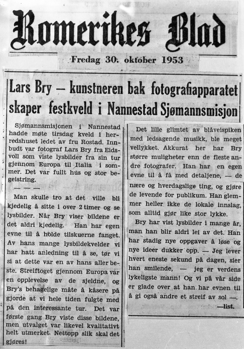 Avisutklipp om Lars Bry fra Romerikes Blad, fredag 30.okt. 1953. Foredrag om reise til Italia.