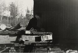 Verkstedardbeider Moseby,Johan kobler to godsvogner.