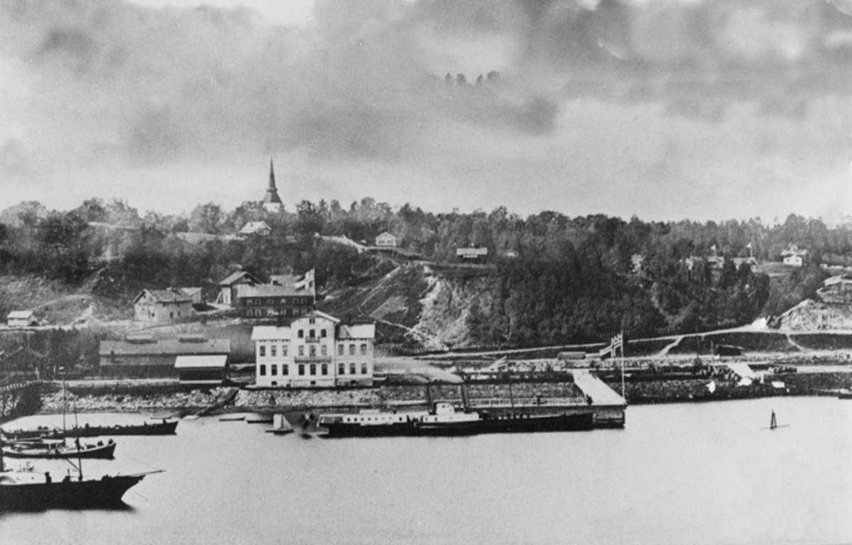 Området ved Eidsvoll stasjon. Stasjonsbygningen ser ut til å være den nye som var ferdig i 1880 etter at den gamle brant i 1877.