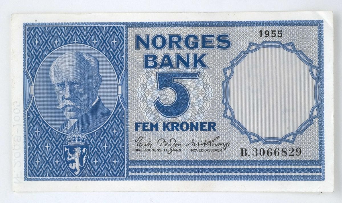5-kroneseddel, datert 1955