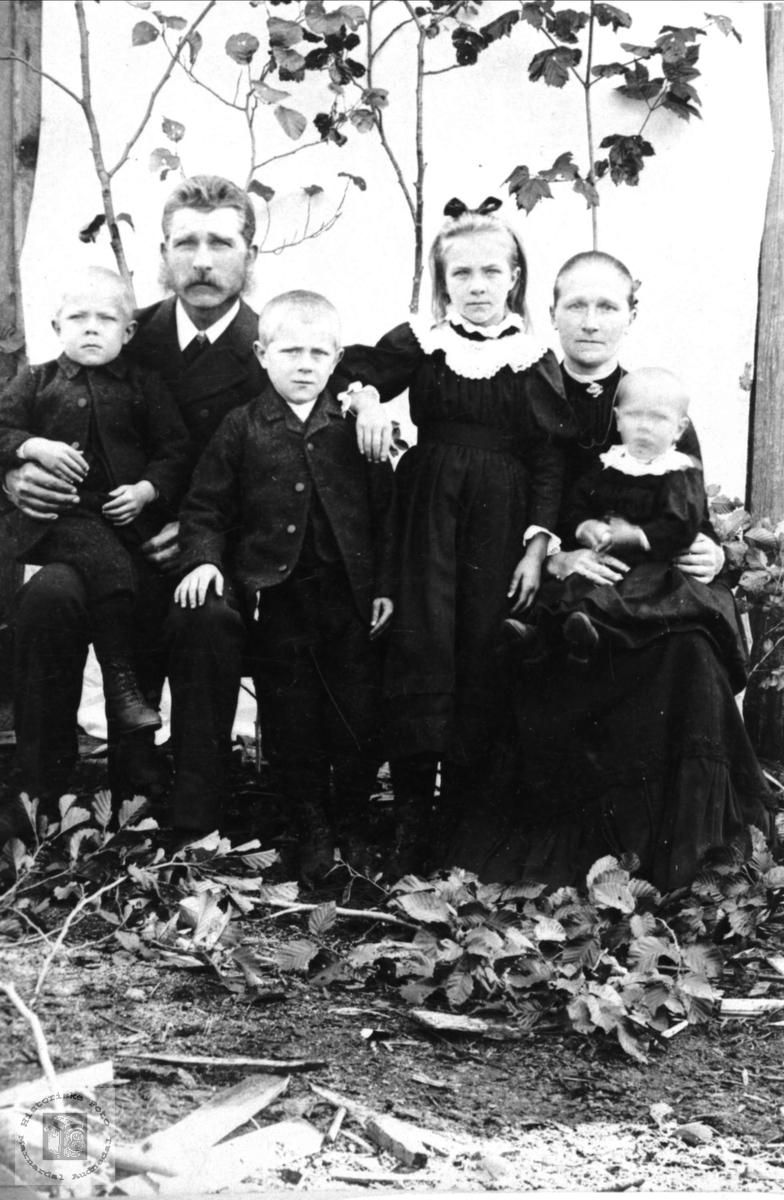 Portrett av Torkjell, Sven, Syvert, Anna, Kari og Magnus Homme, Bjelland