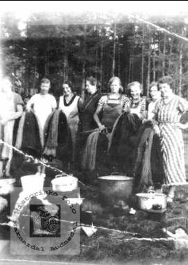 Farging av garn. Personer fra Øyslebø, Bjelland og Laudal.