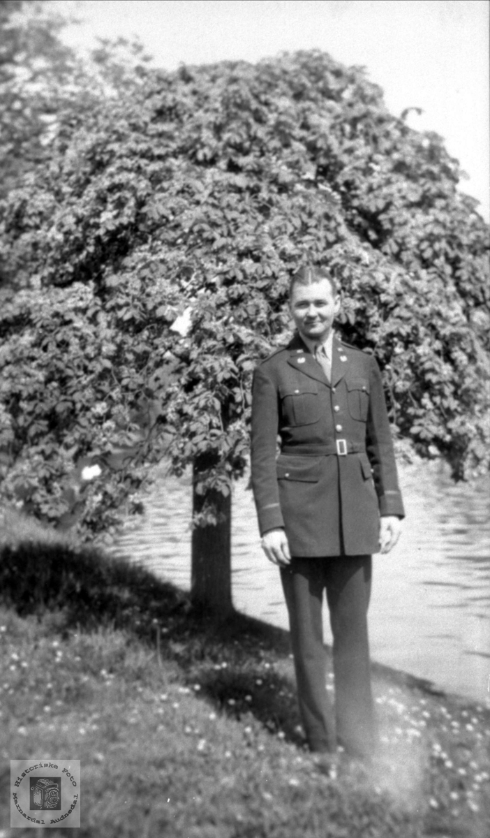 Amrikansk soldat. Arthur Kron med røtter i Laudal.
