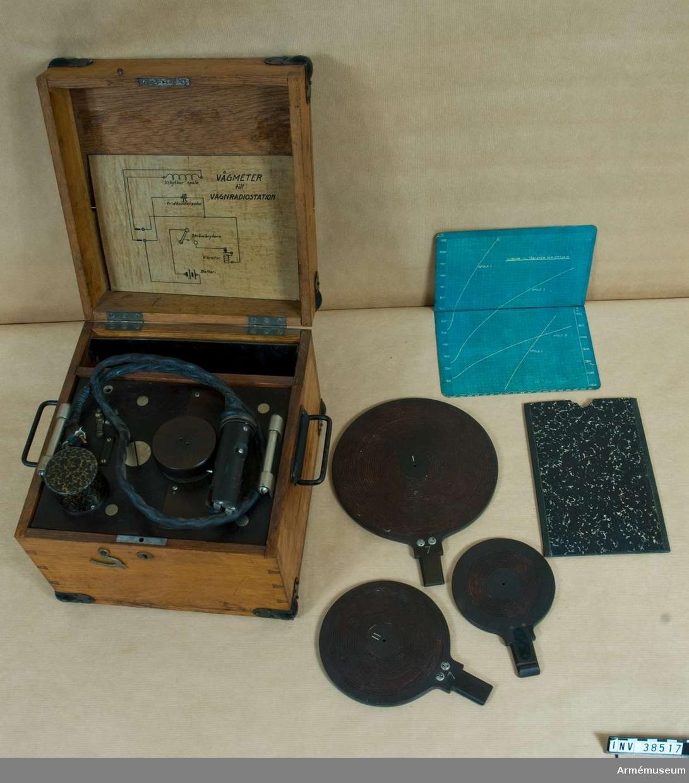 """Grupp H II.  Till vagnradio t 2 KW gnist m/1916,AEG VMA Tillhörig 2 kw gniststation. Vågmetern är utrustad med summerapparat och oljeisolerad vridkondensator. Tre induktionsspolar och ett kurvblad över våglängden som funktion av caf, dvs kondensatorns inställning.  Text på utställningslapp: """"Vågmeter för avstämning av sändaren till gniststation m/1916."""""""