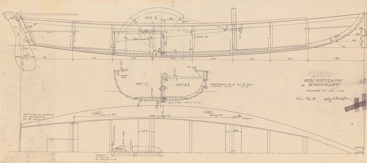 5,5 meters centerbordsbåt. Byggnadsritning i plan, profil och sektion