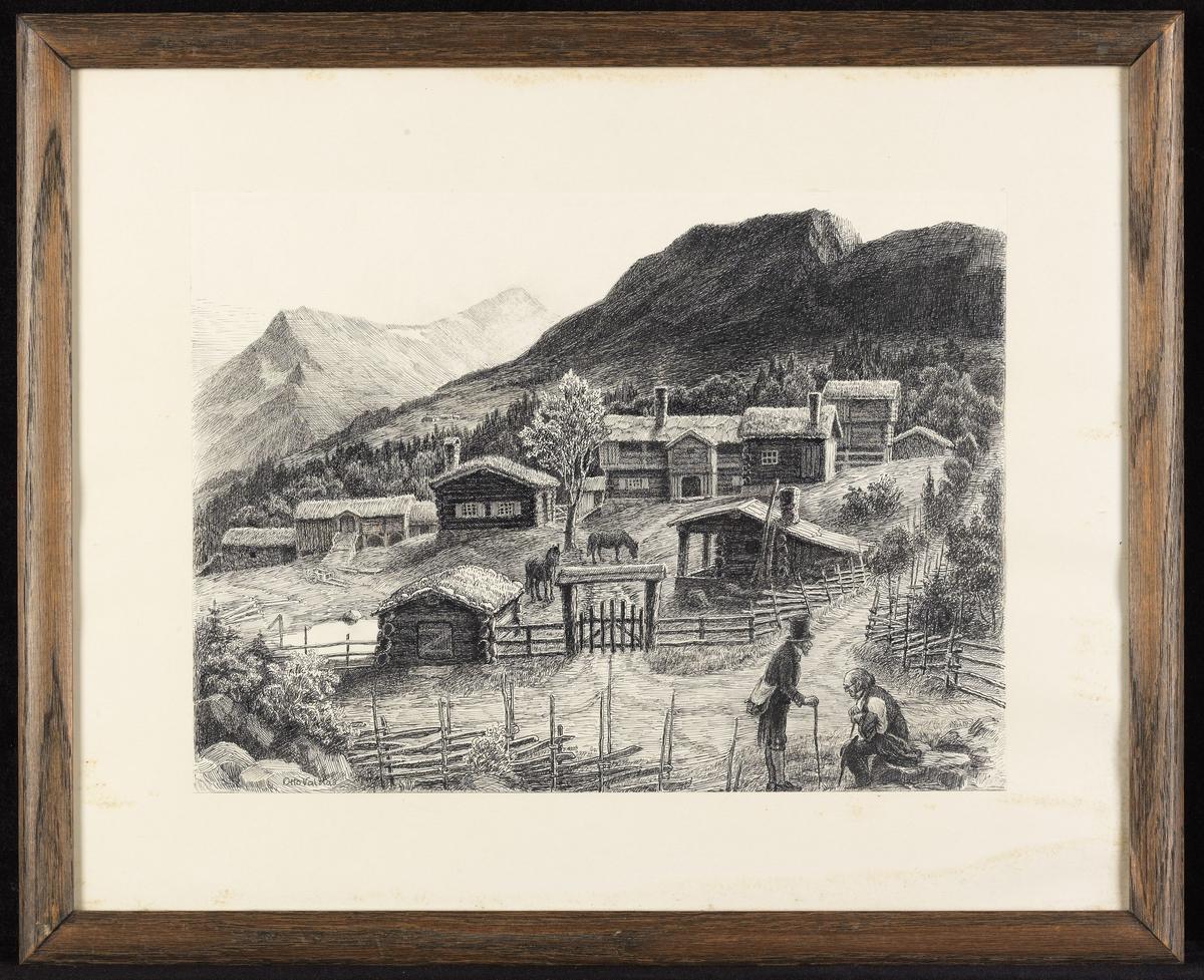 Gårdstun i åsside, i forgr. veikryss m. 2 menn, i bakgr. fjell