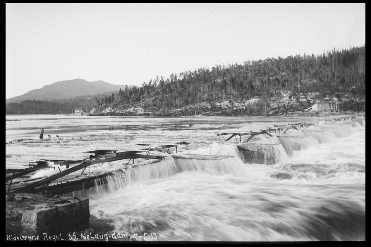 Arendal Fossekompani i begynnelsen av 1900-tallet CD merket 0474, Bilde: 77 Sted: Nelaug Beskrivelse: Damanlegget