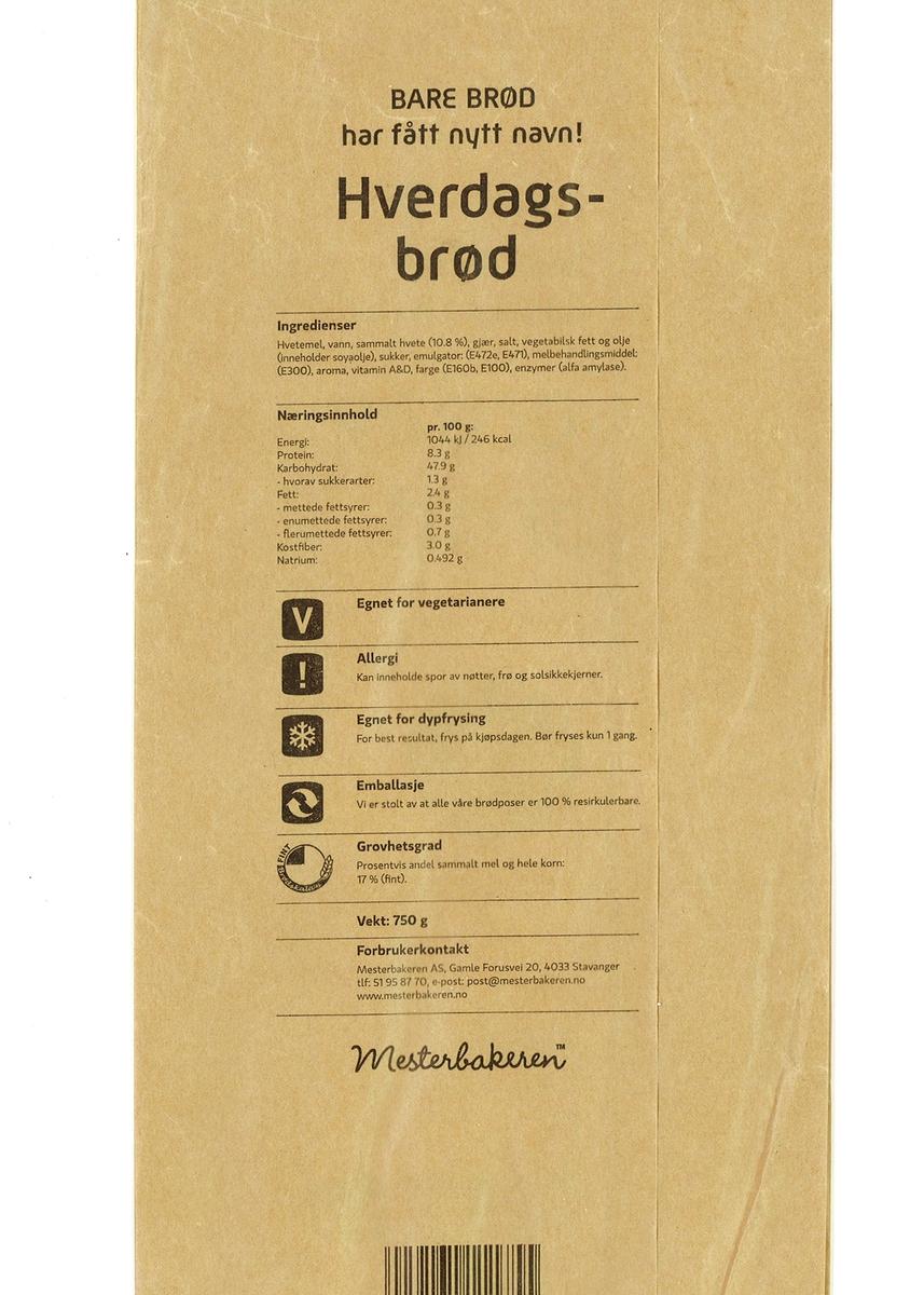 """Det er intet motiv på brødposen. Brødets navn """"Hverdagsbrød"""" står på forsiden."""
