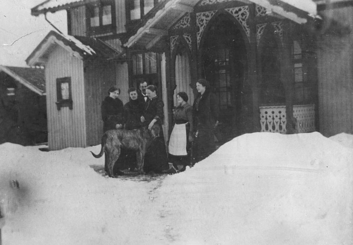 Haugtein, 4 kvinner, en mann og en hund foran trappen til et sveitserhus.