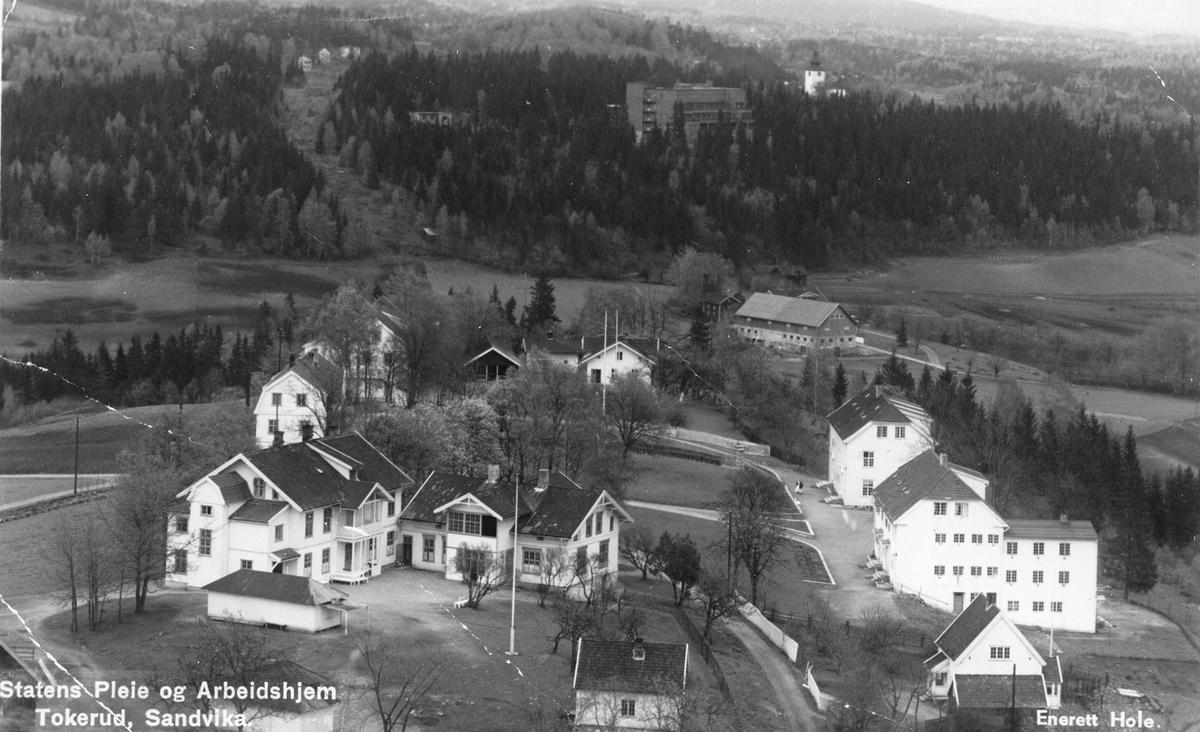 Statens pleie og arbeidshjem, Tokerud, Sandvika. Postkort fra 1930 årene