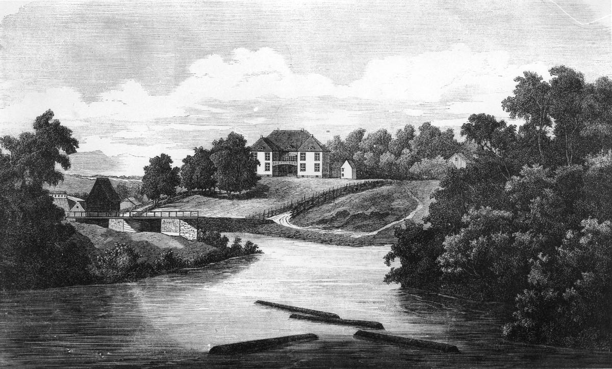 Avfotografert maleri av Eidsvollbygningen.
