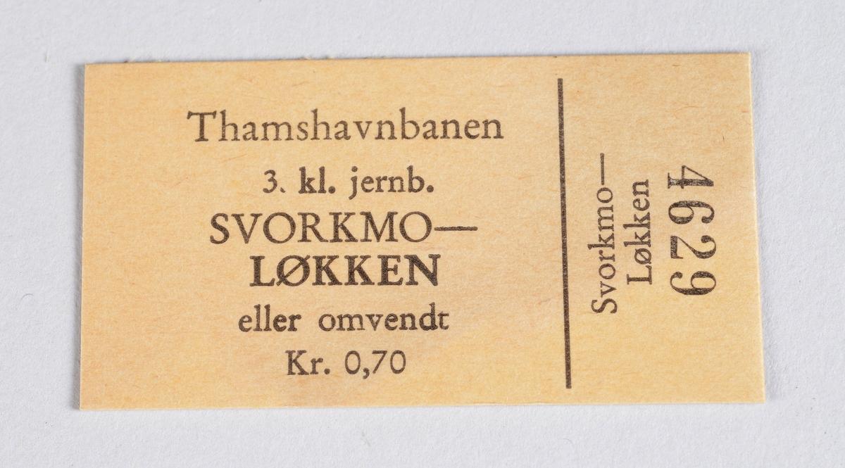 Rektangulær billett i papp for reise med Thamsbanen.