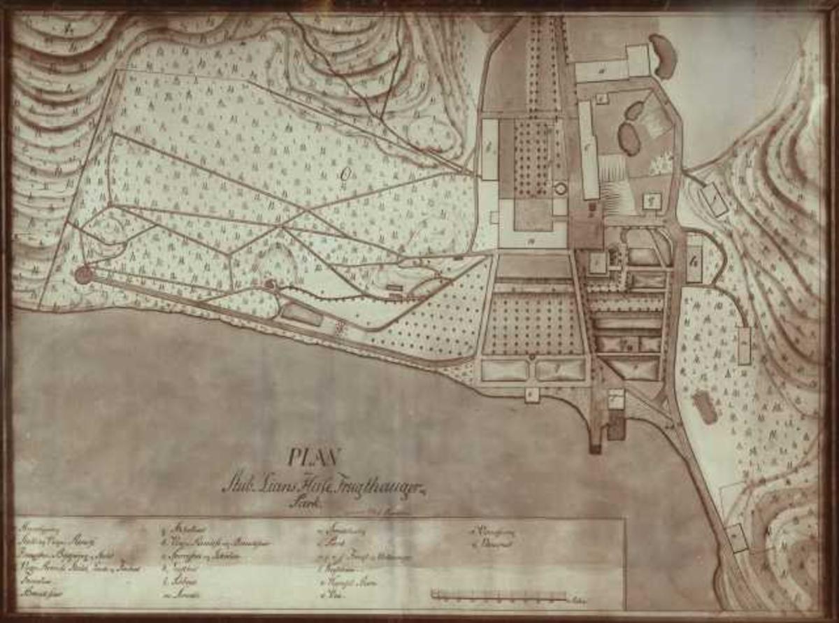 Stubljan gård, Oslo 1816. Avfotografert kart over gårdens hus, frukthager og park.